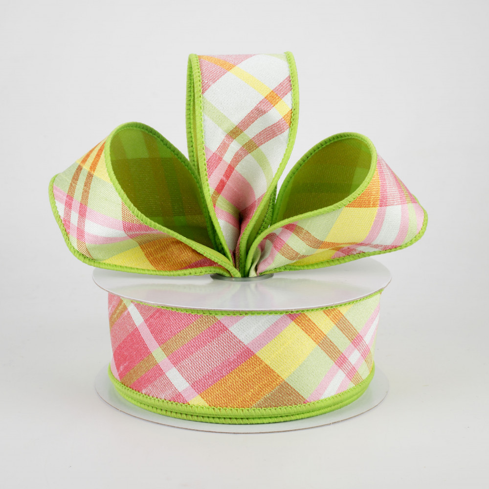 Spring Plaid Wired Ribbon By the Roll 2.5 X 10 YARD ROLL RG0168314