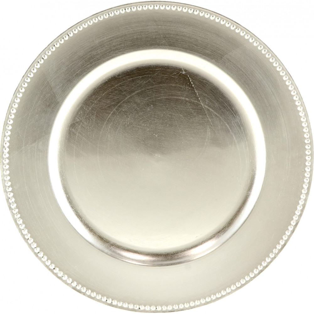 13 Lacquer Round Charger Plate Silver