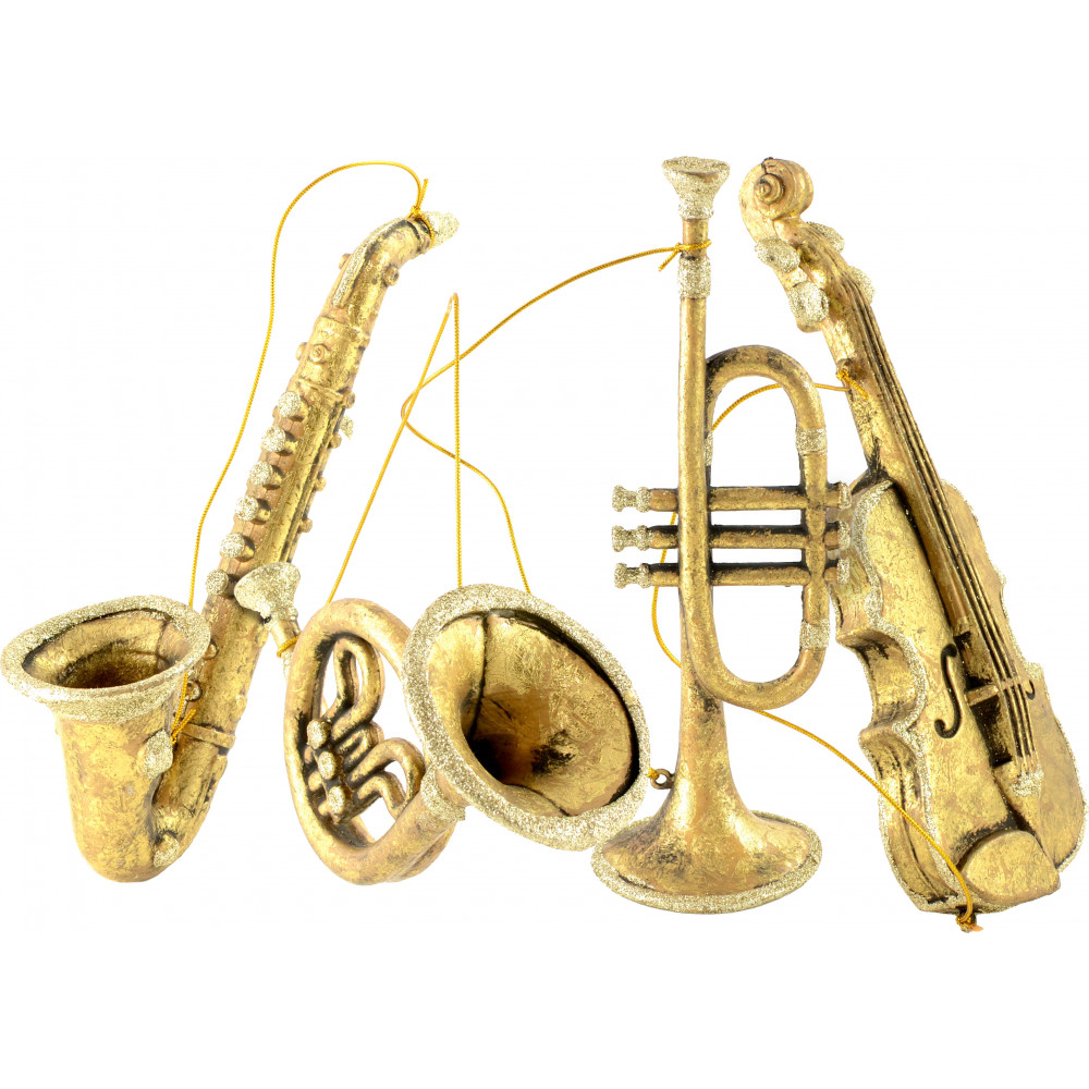Musical instruments ornaments - 8 11 Assorted Musical Instrument Ornaments Gold Set Of 4