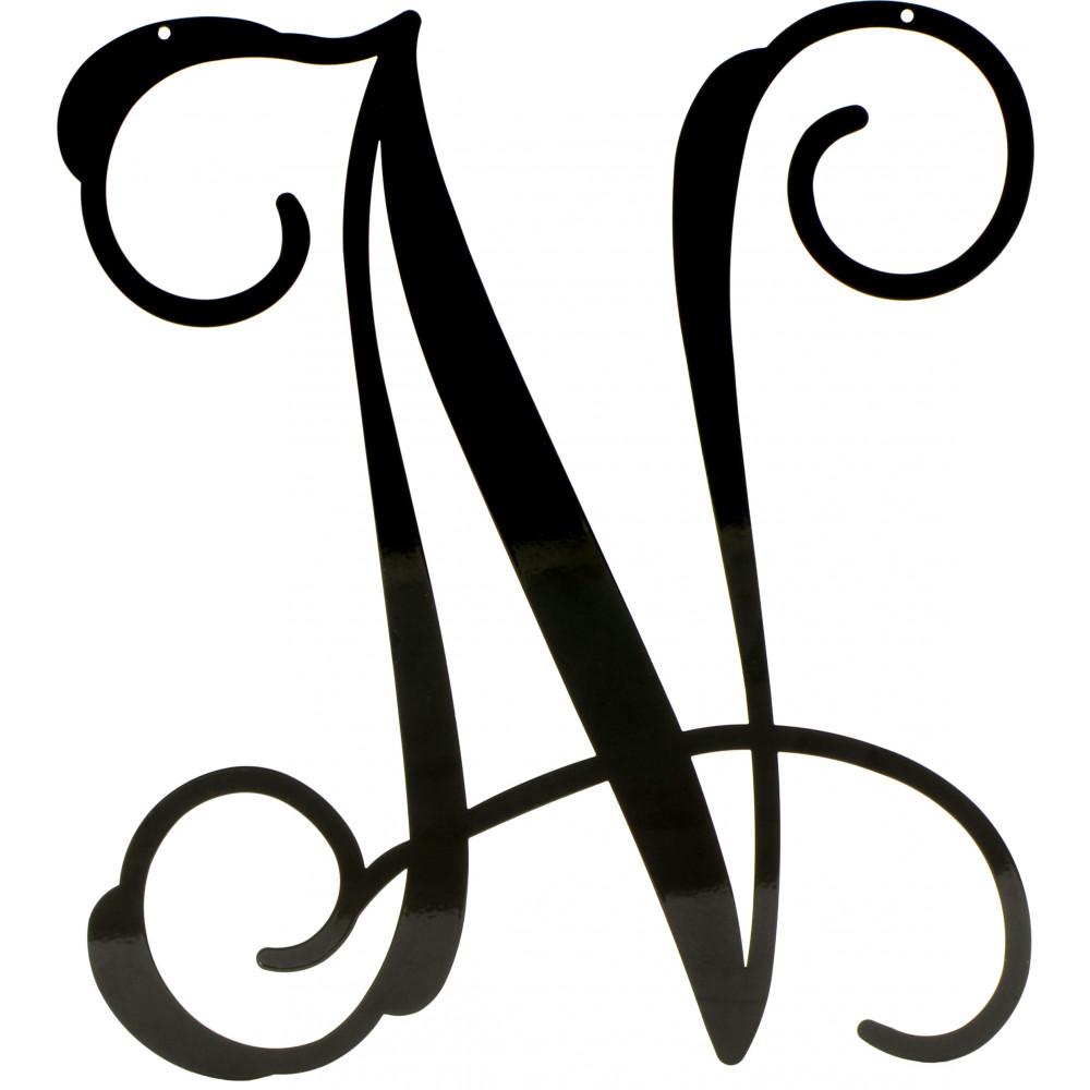 "Metal Script Letters 12.5"" Black Vine Script Metal Letter N 1952  Craftoutlet"