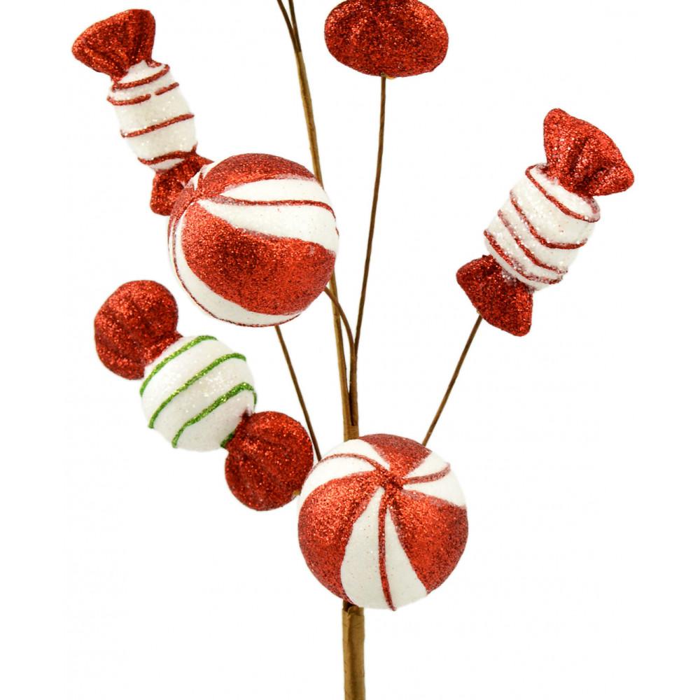 Peppermint Striped Candy Christmas Spray 23