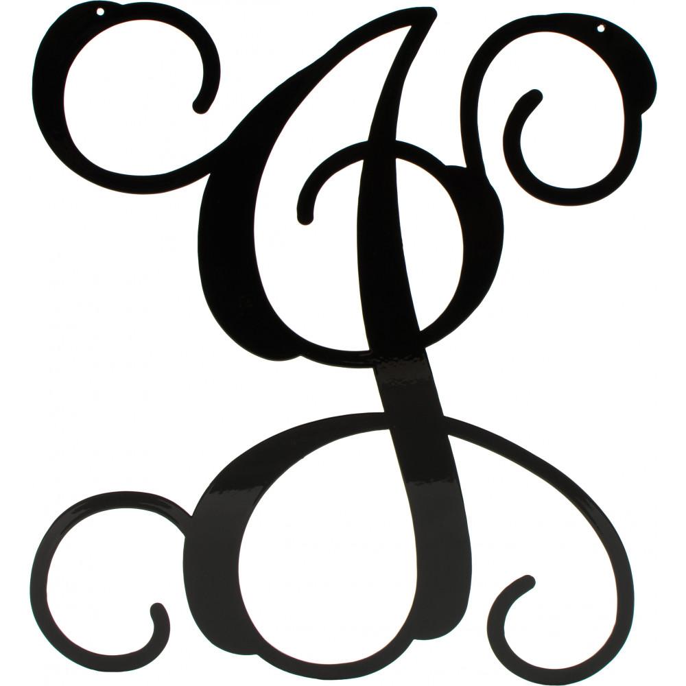 12 5 black vine script metal letter j 1948 Caligraphy i