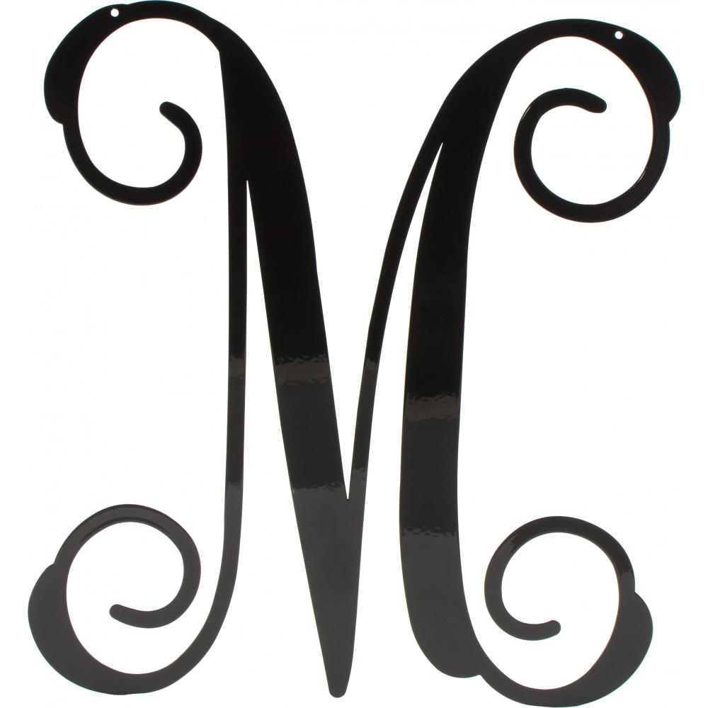 12 5 Black Vine Script Metal Letter M 1951