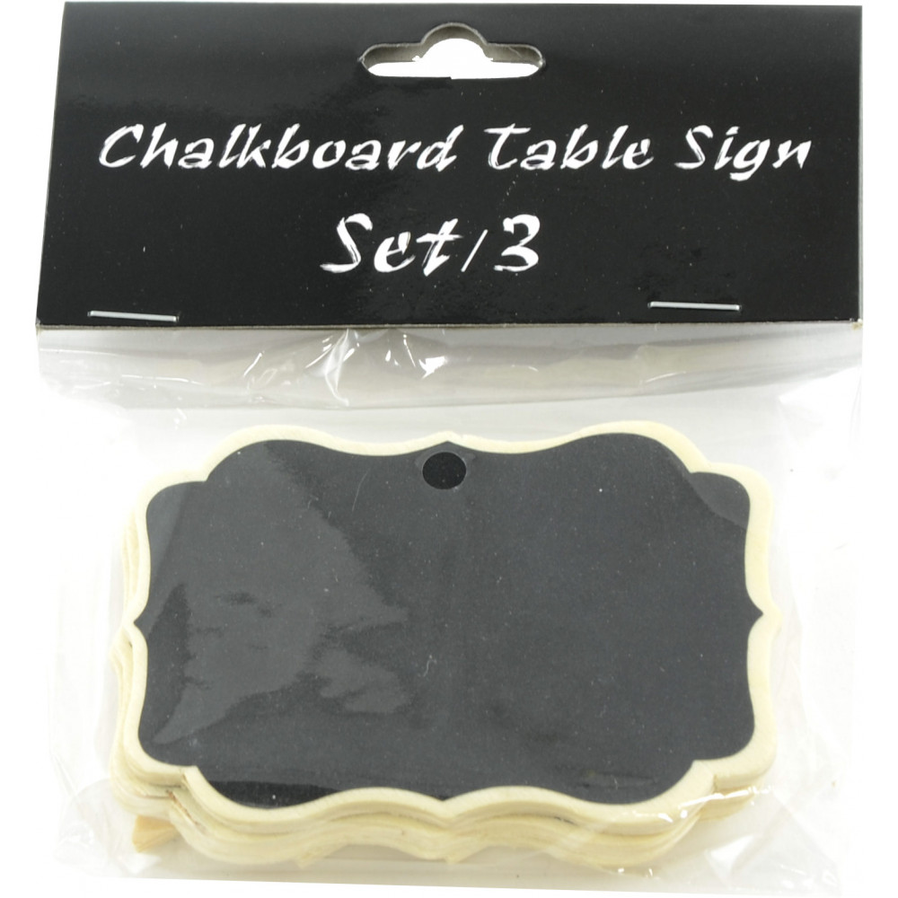 Scalloped Chalkboard Table Signs (Set Of 3)