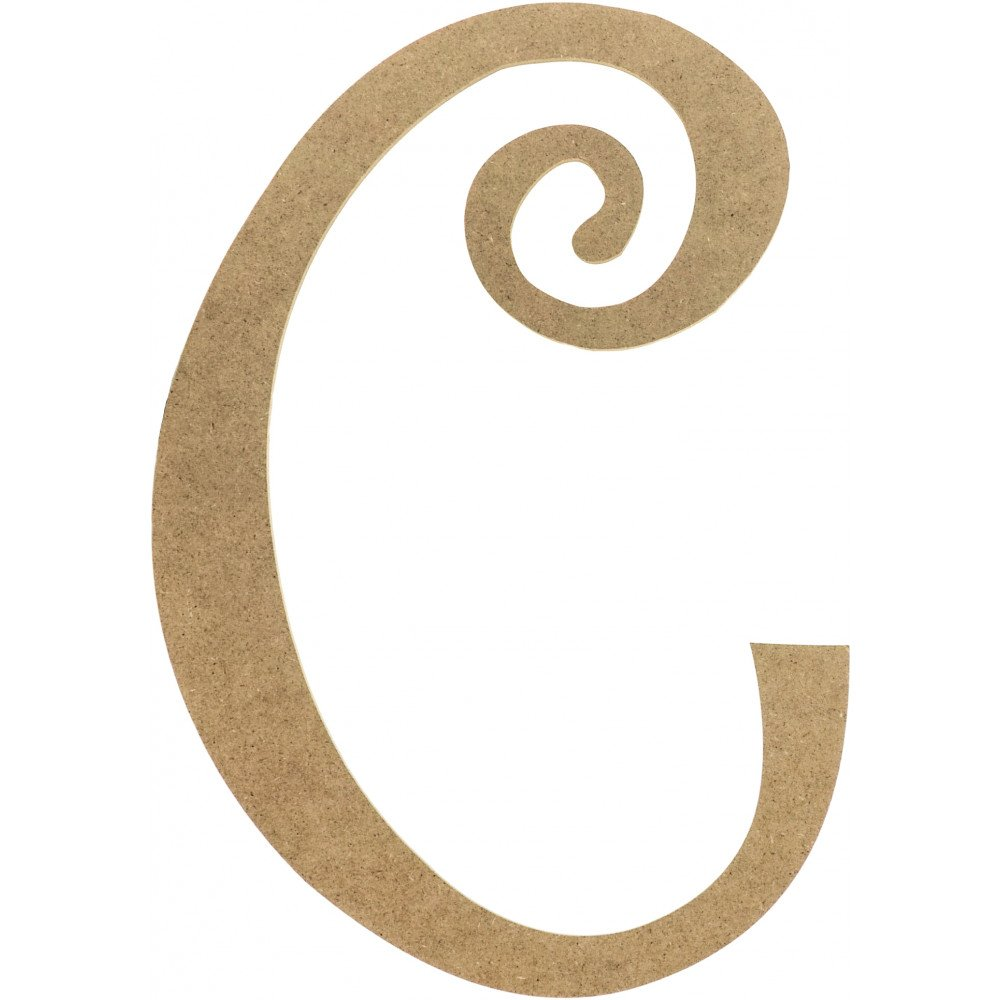 "Decorative Letter C 14"" Decorative Wooden Curly Letter C Ab2147  Craftoutlet"