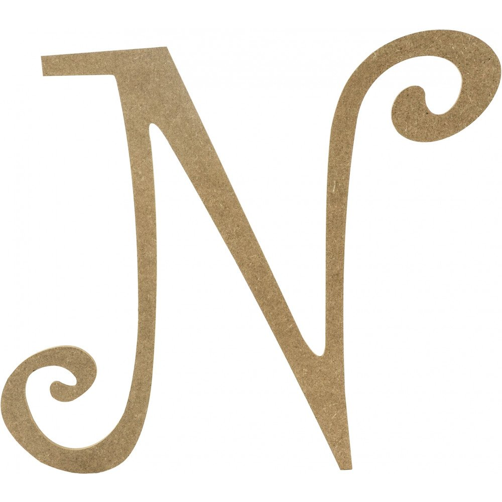 """14"""" Decorative Wooden Curly Letter: N [AB2158"""
