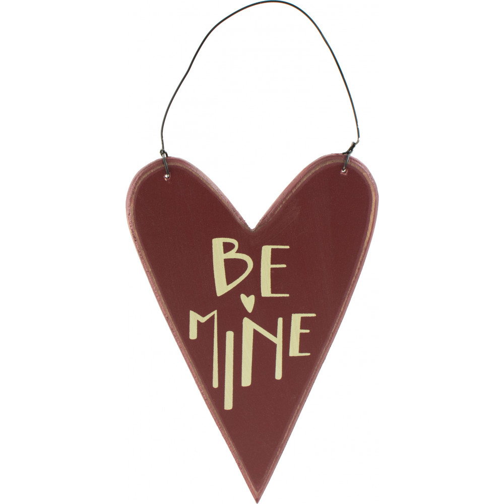 Quot wooden heart ornament be mine  craftoutlet