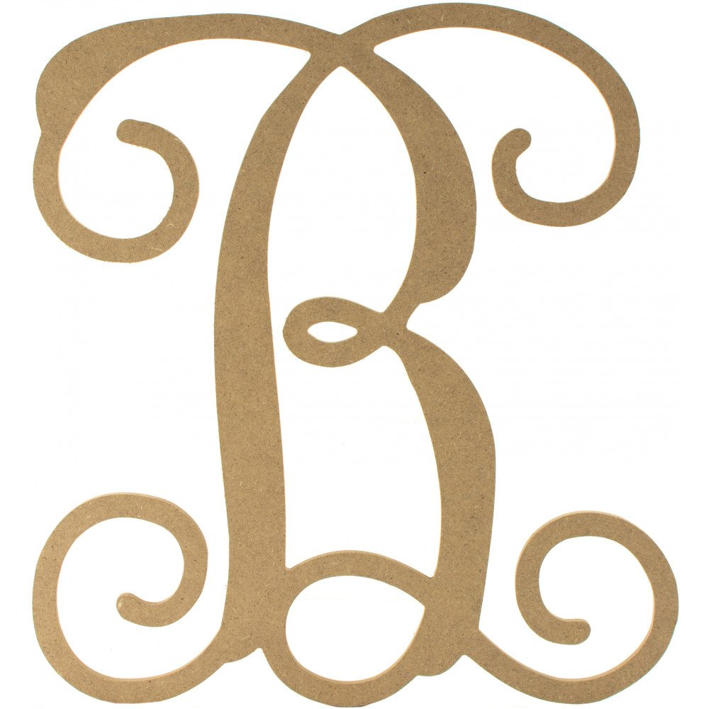 12 wood letter vine monogram b