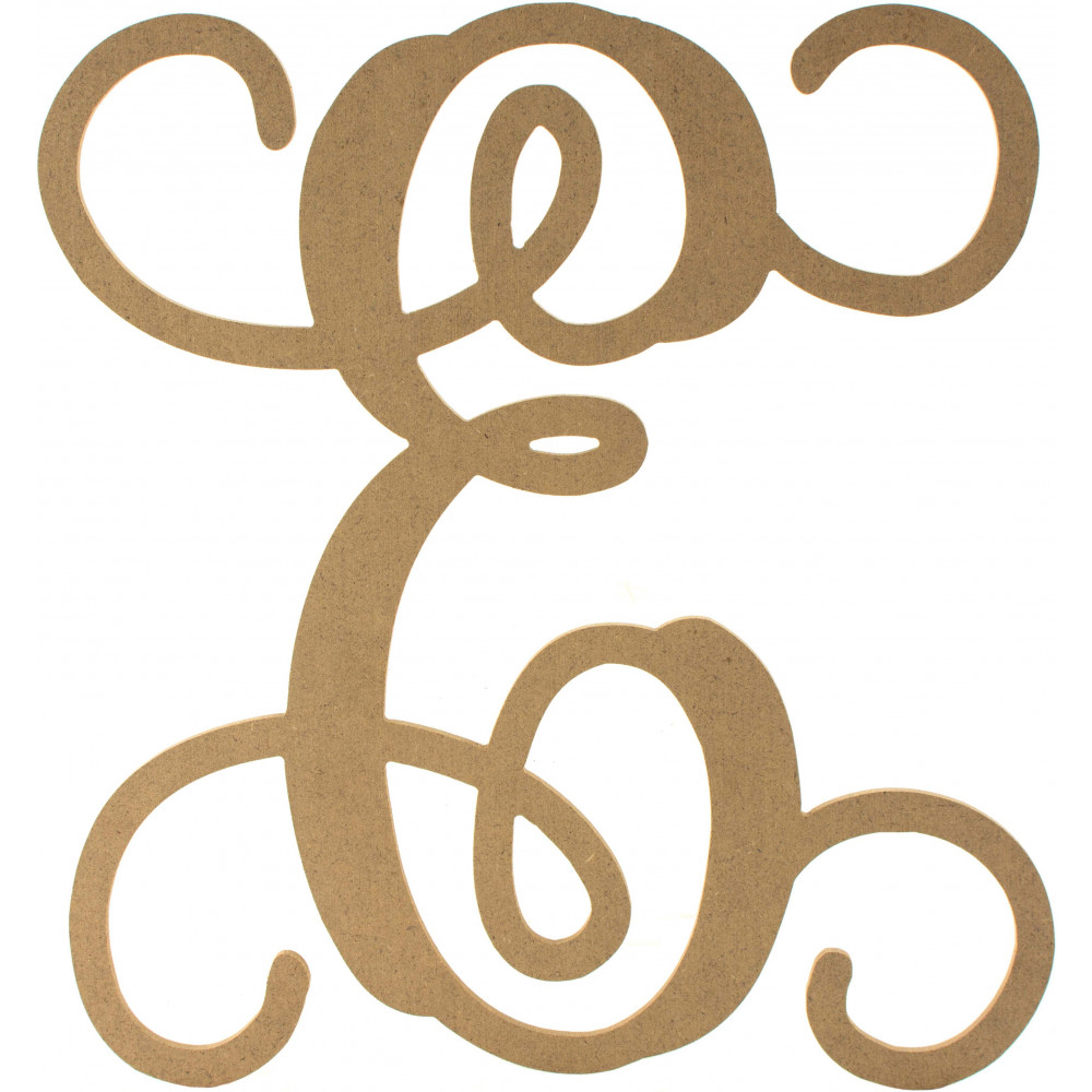 12 wood letter vine monogram e