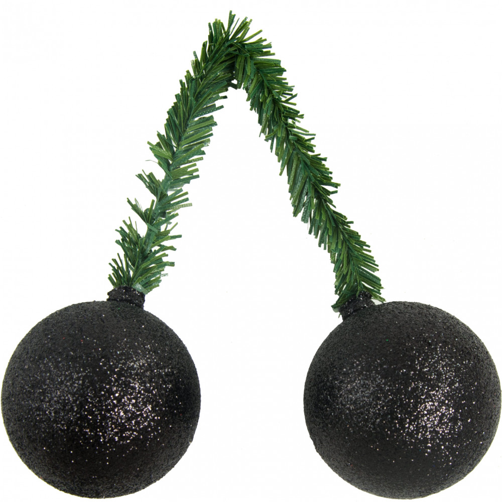 Quot green tinsel tie with mm glitter ball black