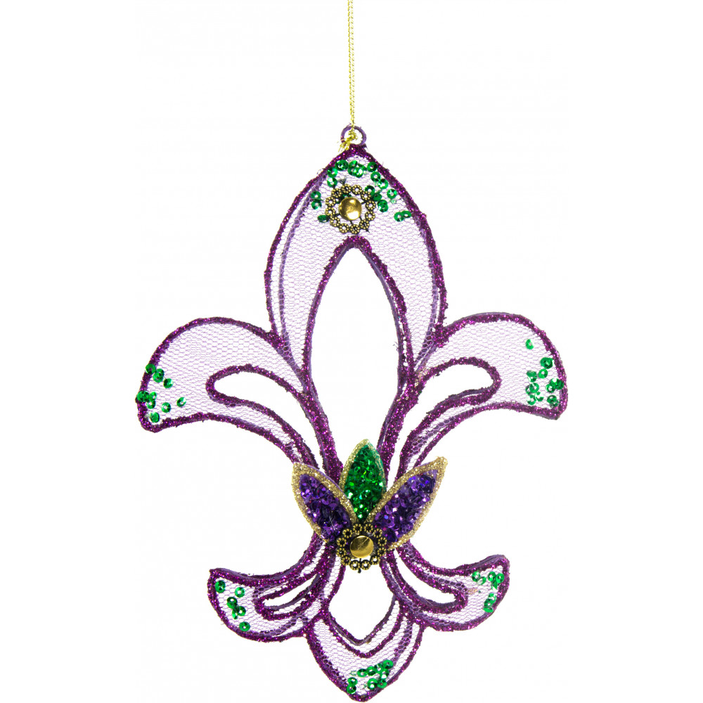 Purple Mesh Fleur De Lis Ornament [22651-Purple ...