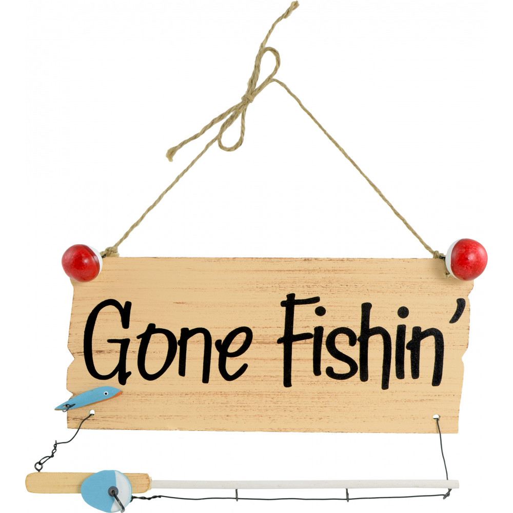 Gone fishing hanging sign 10 x 5 9723581 for Gone fishing sign