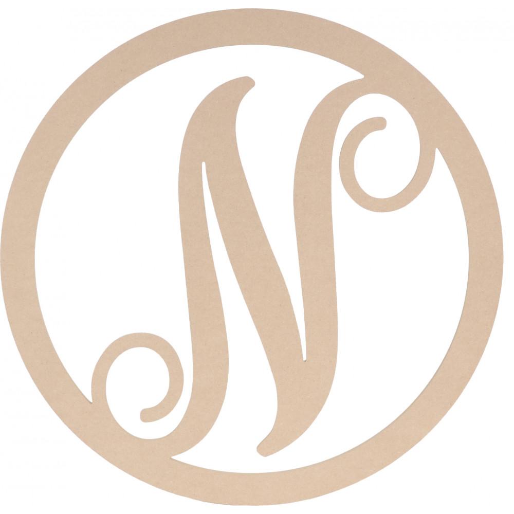 "23"" Script Circle Monogram Wooden Letter: N [AB2247"