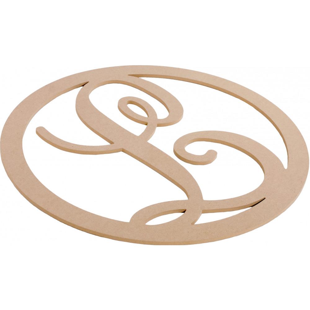 23 script circle monogram wooden letter l