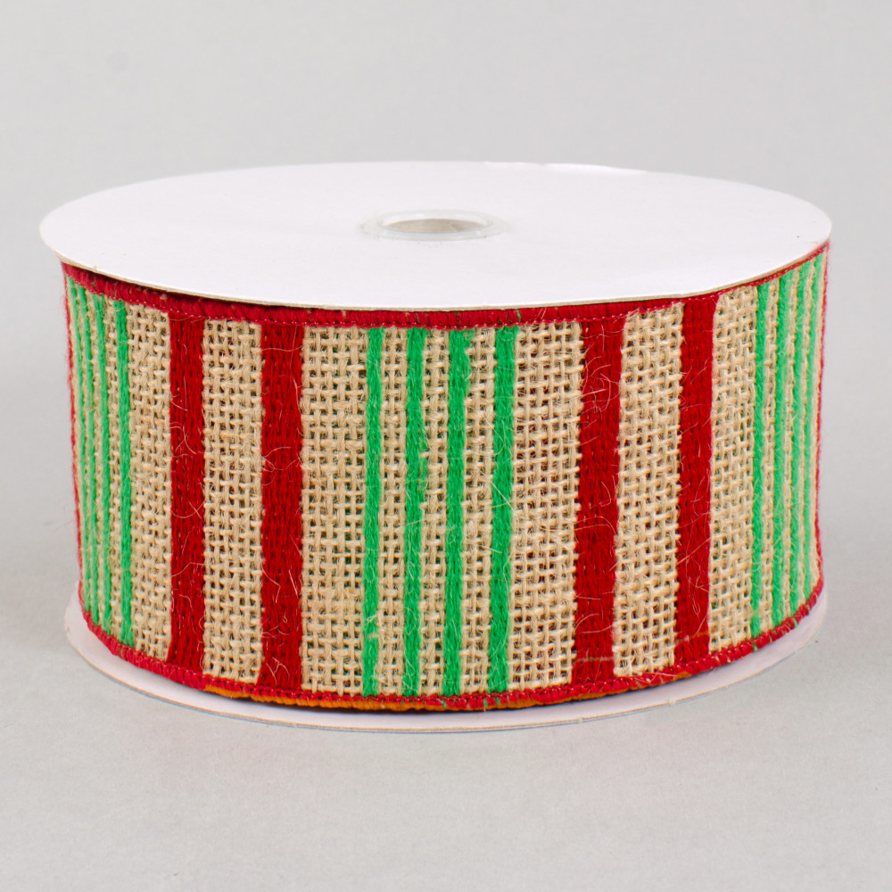 2 5 burlap stripe ribbon red green 10 yards xf103 4 for Green burlap ribbon