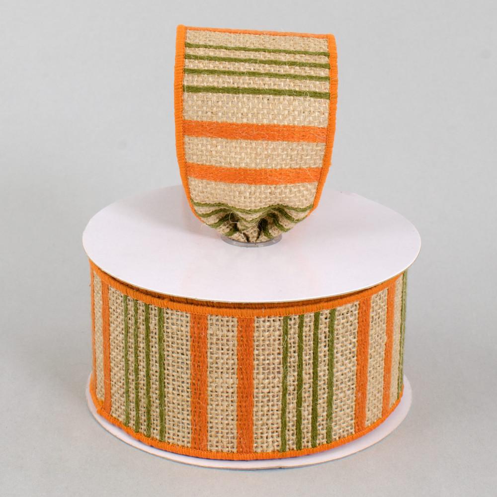 2 5 burlap stripe ribbon orange sage green 10 yards for Green burlap ribbon