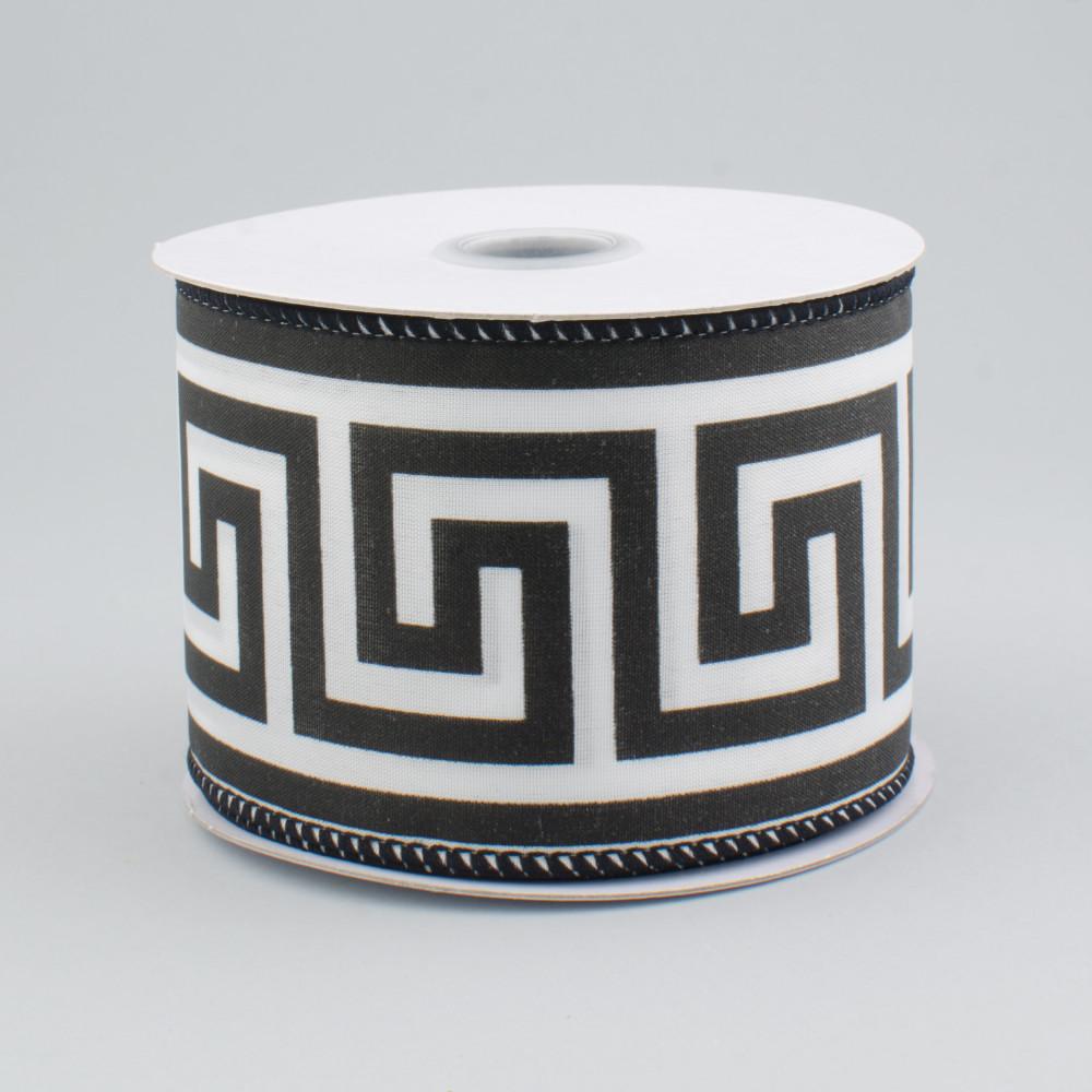2 5 Greek Key Pattern Ribbon Black White 10 Yards