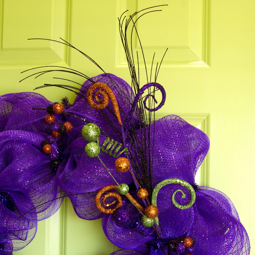 "18"" Halloween Glitter Curly Ball Pick: Orange, Lime Green ..."