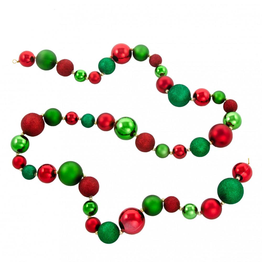 6 mixed metallic glitter ball garland red emerald green