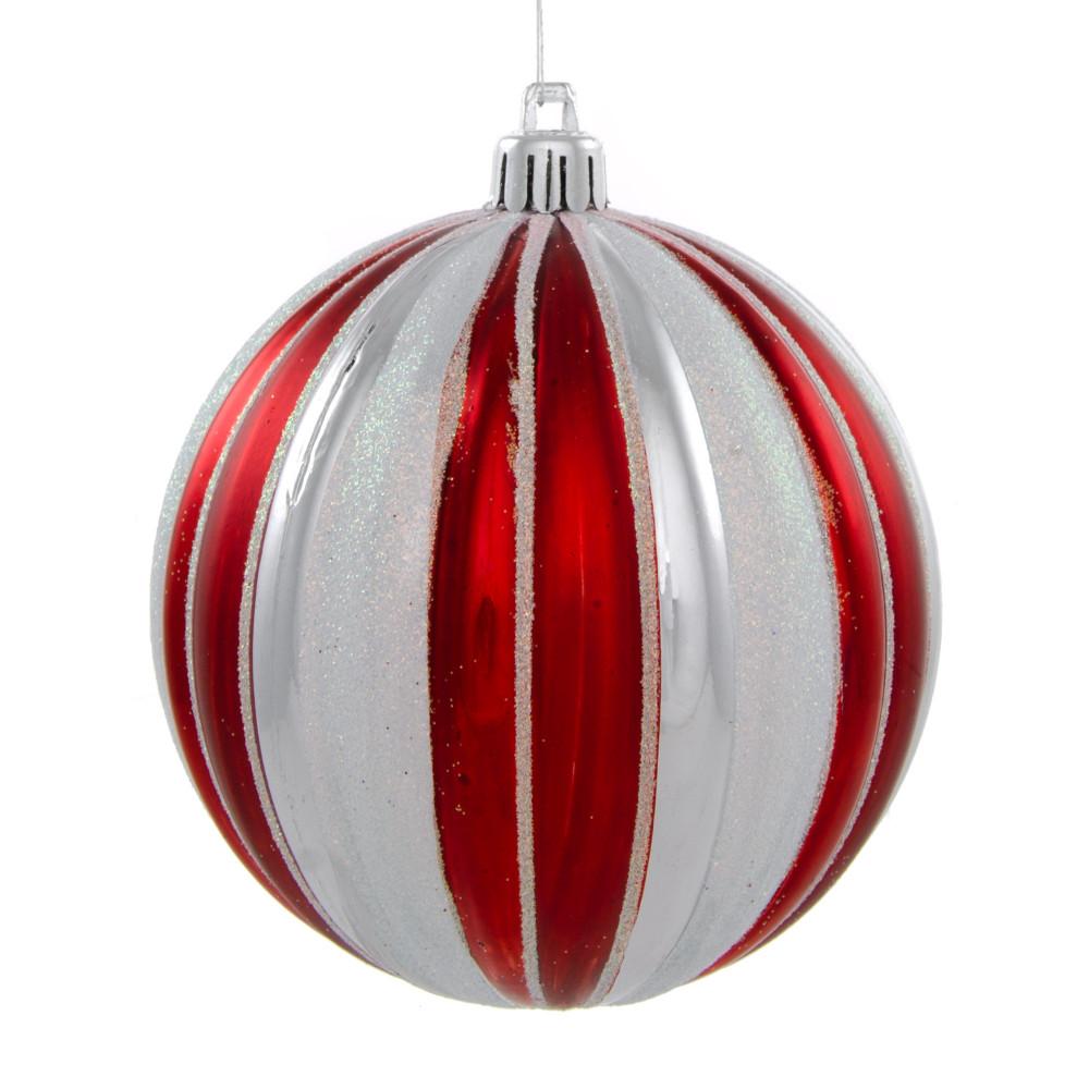 100mm Round Vertical Stripe Metallic Ball Ornament Red White