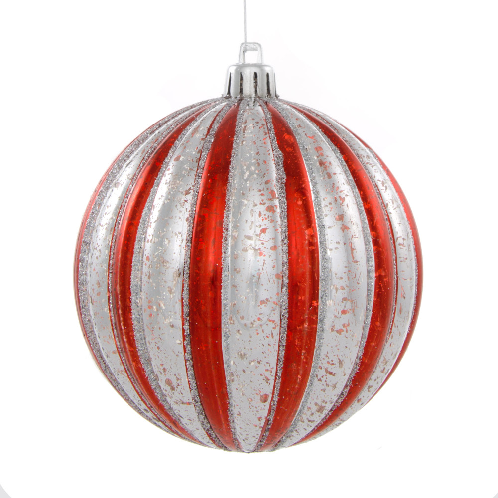 White Silver Ornament Silvers: 100MM Round Vertical Stripe Metallic Ball Ornament: Red