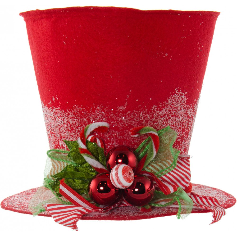9 red felt christmas holly top hat