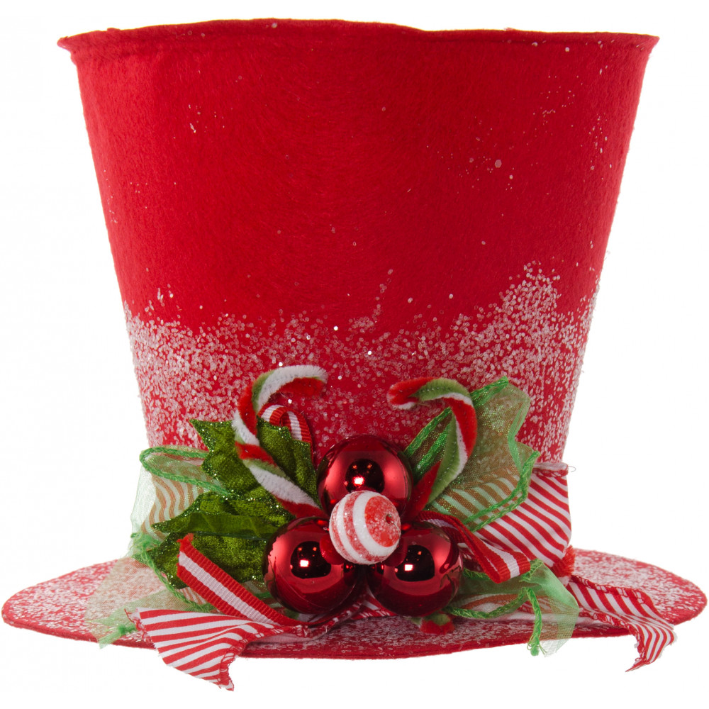Christmas Top Hat.9 Red Felt Christmas Holly Top Hat