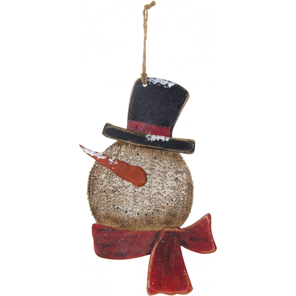 Holiday snow burlap snowman ornament 65205 for Snowman made out of burlap