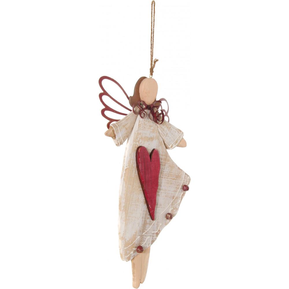 Wooden angel ornament heart  craftoutlet