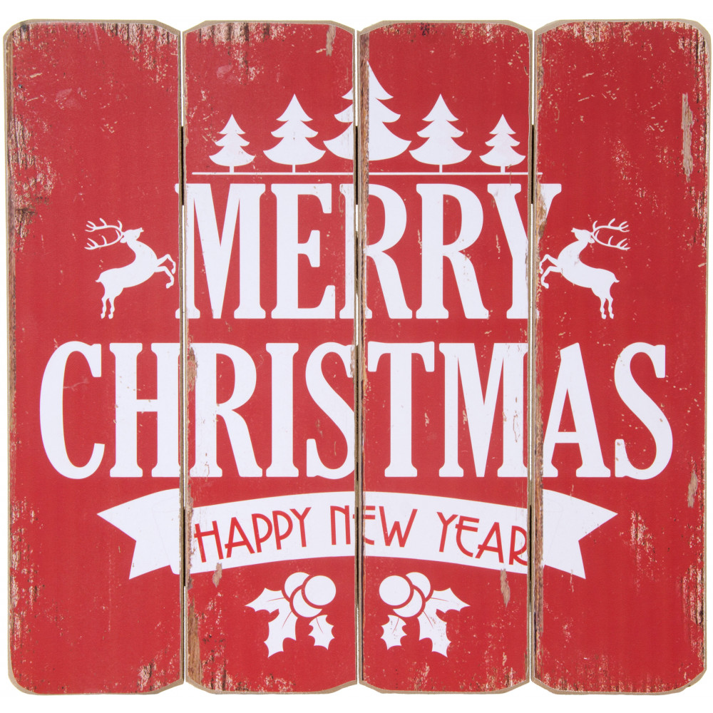 """16"""" Merry Christmas Slat Sign: Red [65037]"""