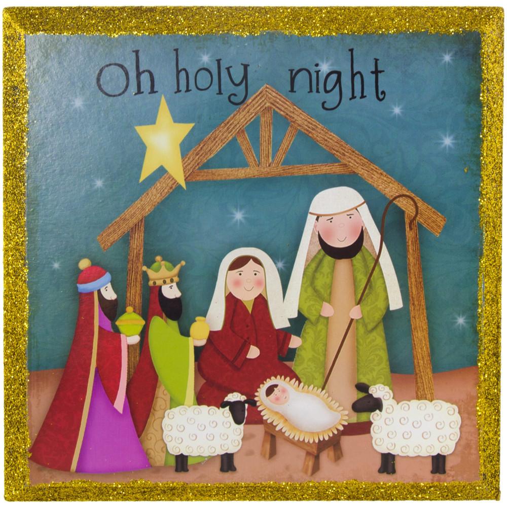 "8"" Oh Holy Night Nativity Plaque [65320] - CraftOutlet.com"