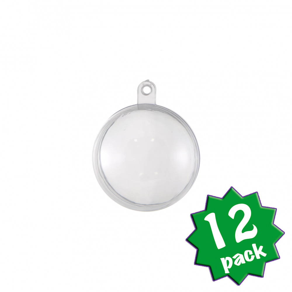 Clear fillable plastic ornaments - 40mm Clear Fillable Ball Ornament Set Of 12