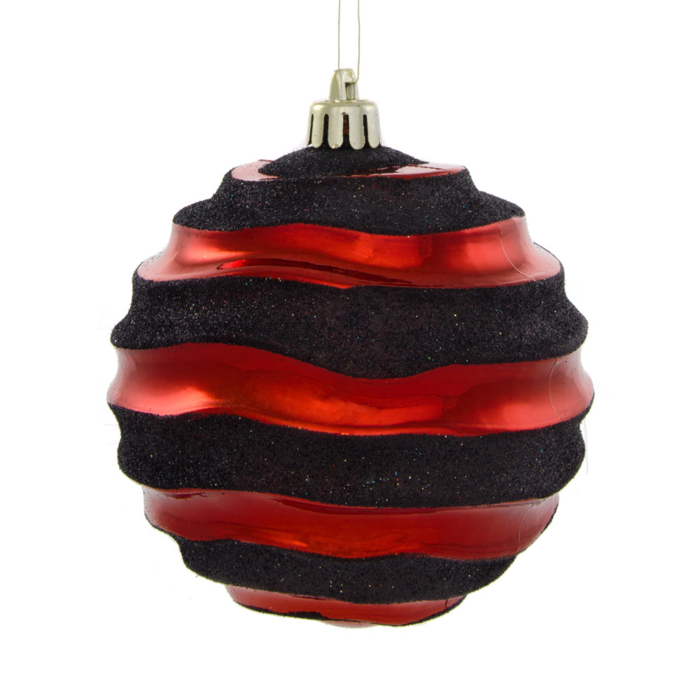 Mm groove horizontal stripe metallic ball ornament red