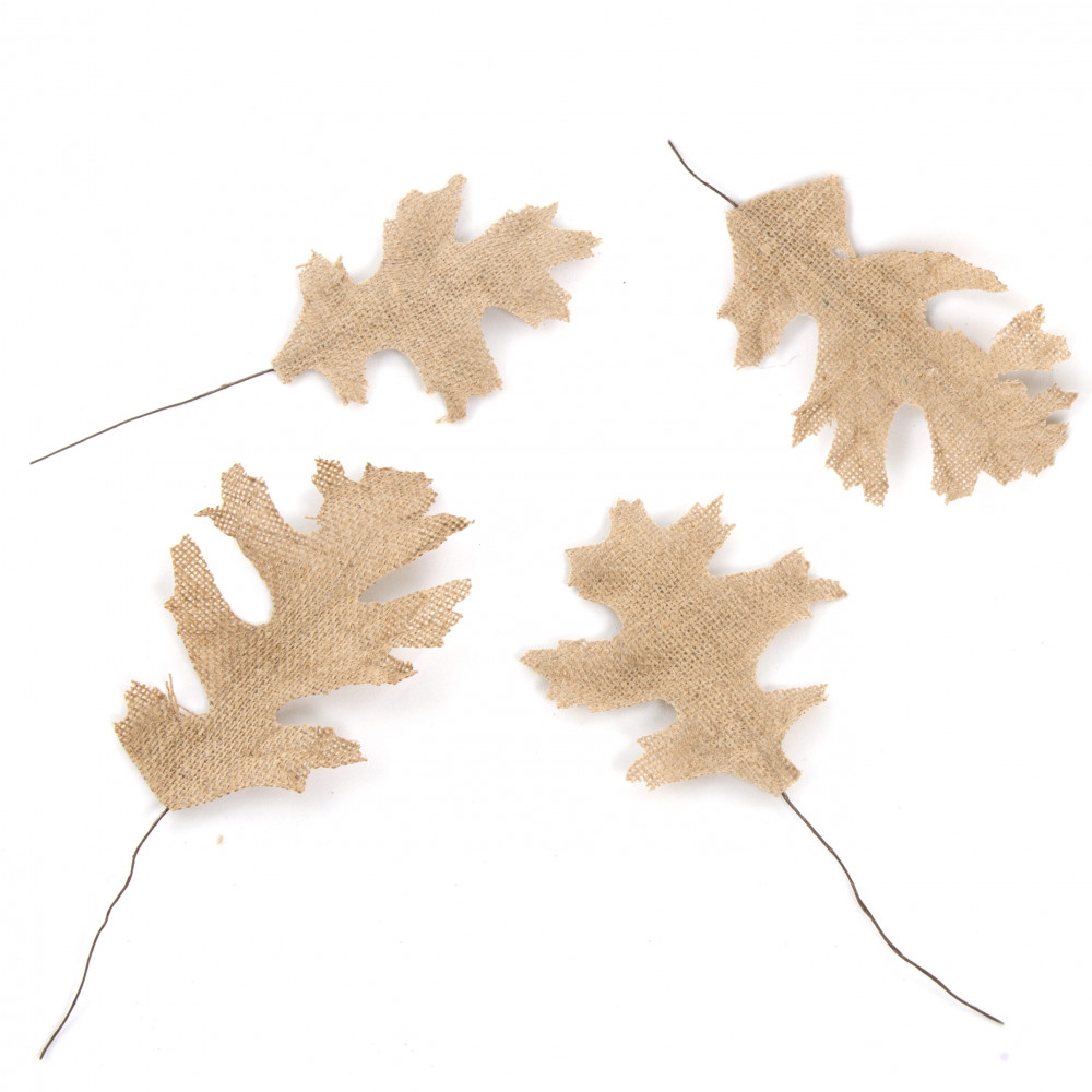 Assorted Pin Oak Burlap Wired Leaves (48)