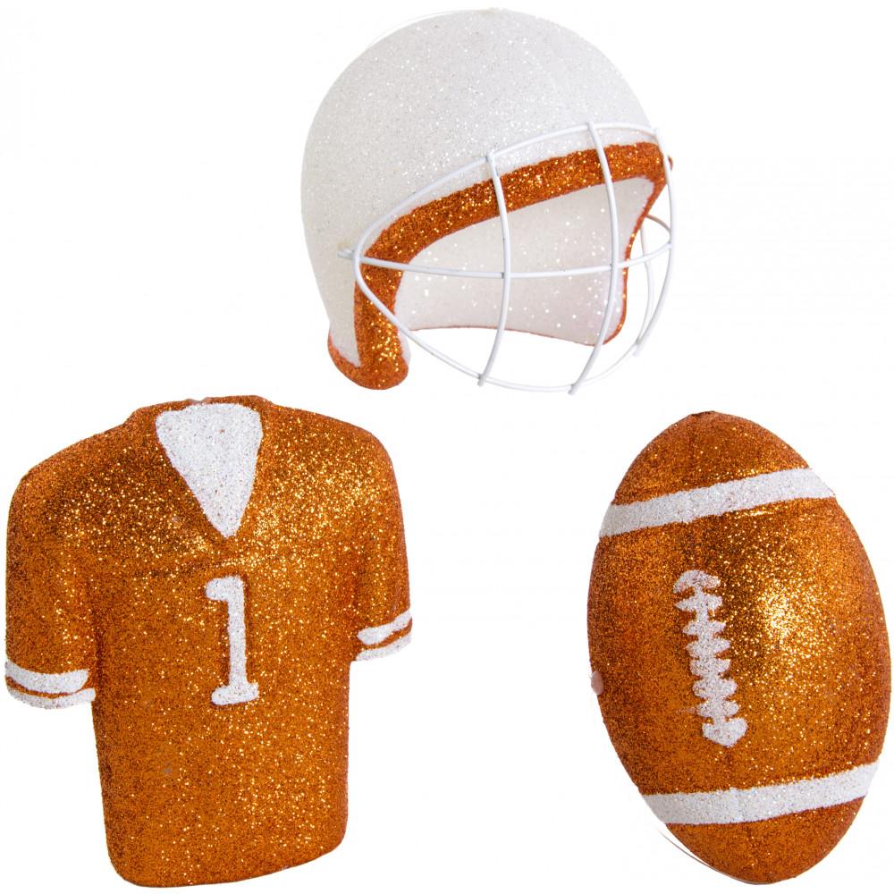 Glitter Football Ornament Assortment: Burnt Orange & White (Set of 3 ...