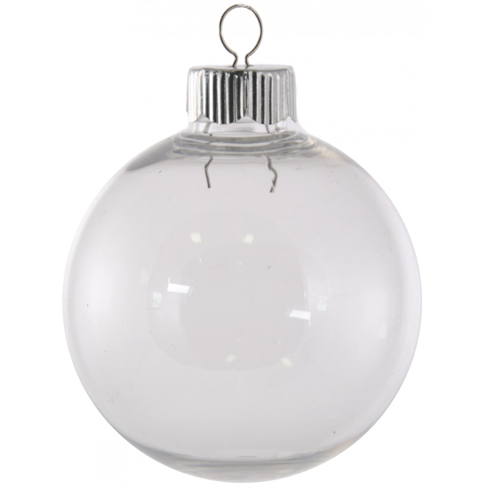 Clear fillable plastic ornaments - 67mm Clear Plastic Ball Ornament