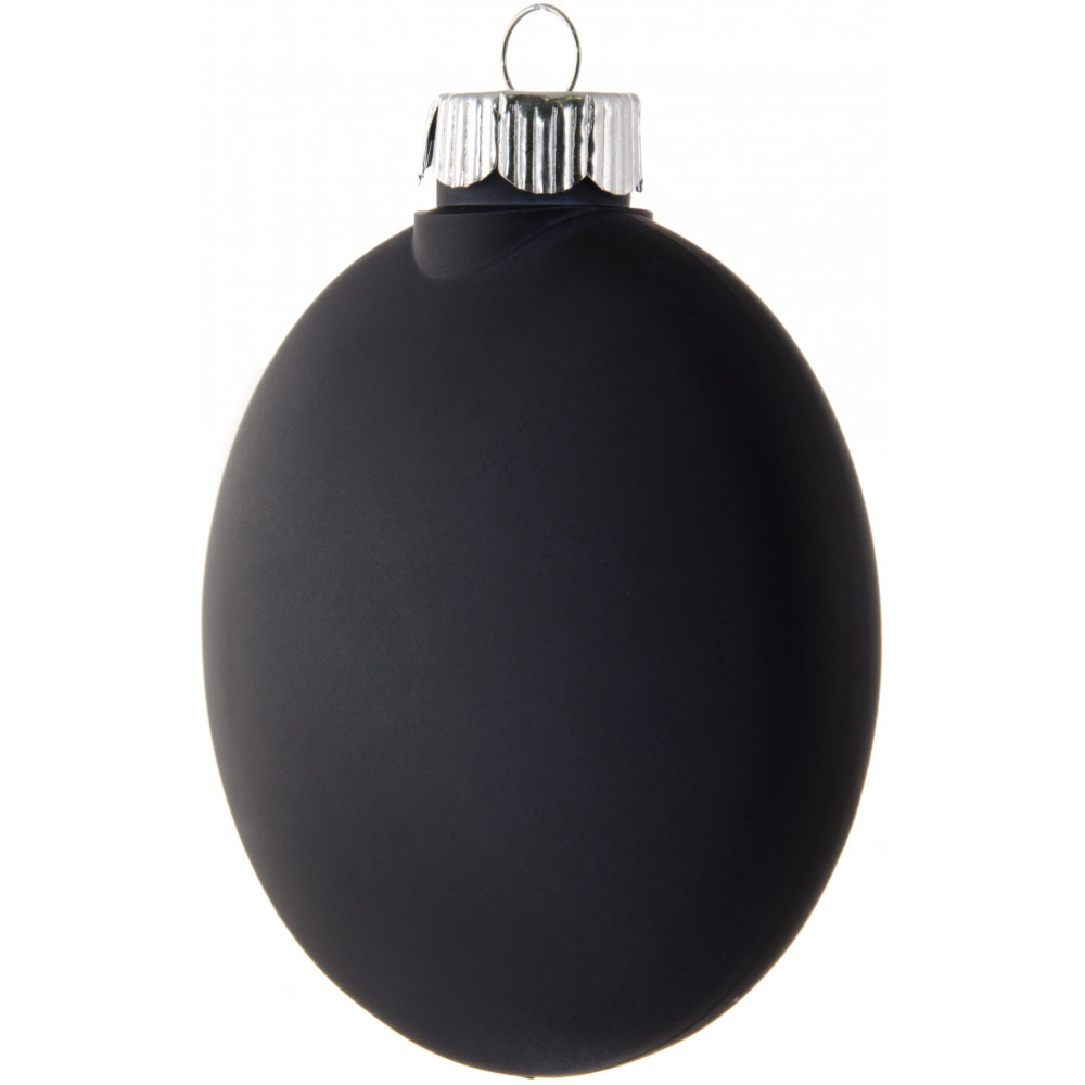 Plastic ornament - Black Plastic Oval Disc Ornament 80mm