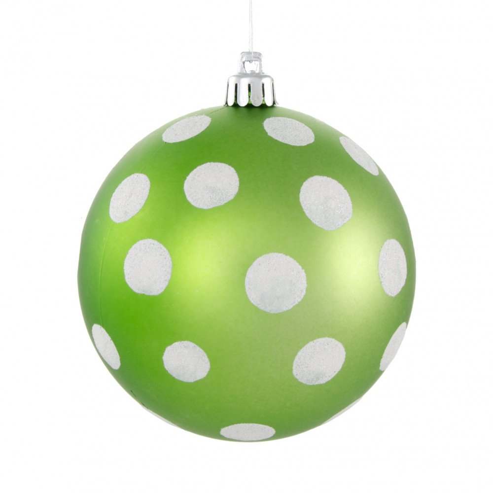 Polka dot christmas ornaments - 100mm Polka Dot Polka Dot Ornament Matte Lime Green White