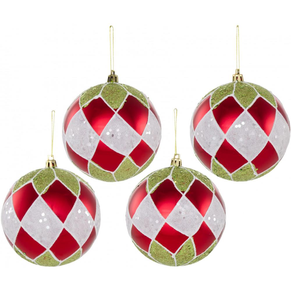 100mm metallic glitter harlequin ball ornament box of 4 red lime green white - Red White Green Christmas Decor