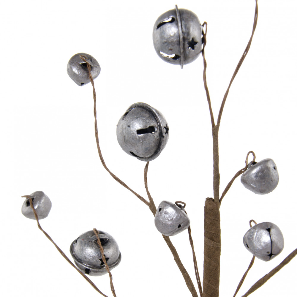 12 metal jingle bells spray antique silver xc415532