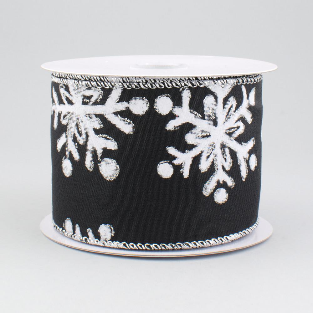 Black, White, 2.5 10 Yards Glittered Snowflake Wired Edge Ribbon