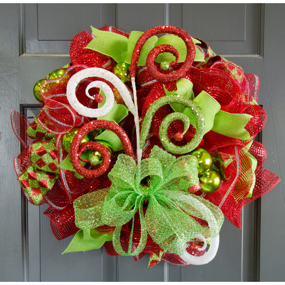 "26"" Large Glitter Curl Christmas Spray: Red, Lime Green ..."