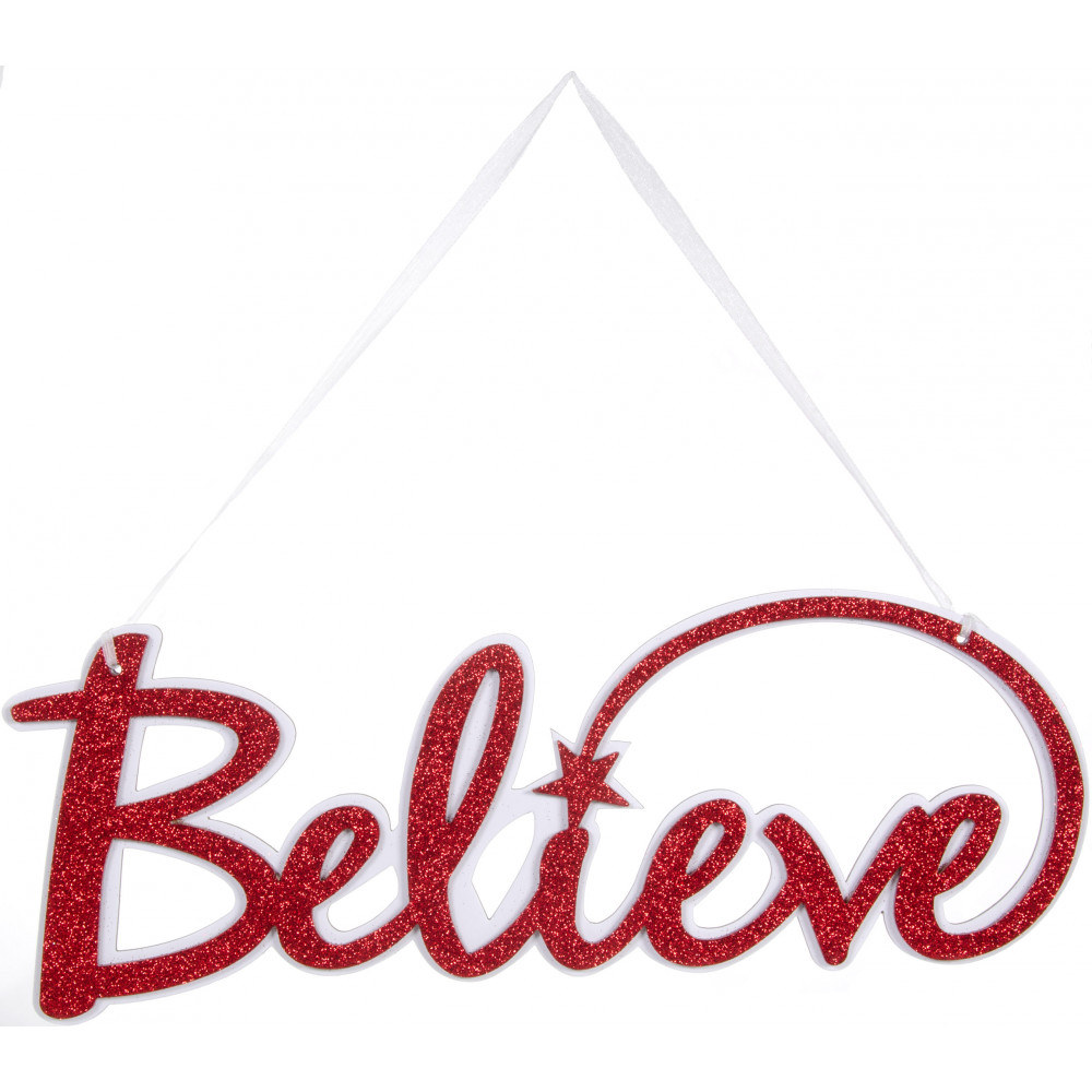 "14"" Glittered Believe Word Sign: Red & White [MS700024 ..."