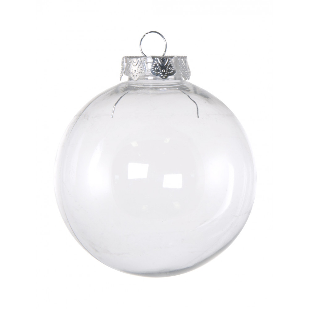 Clear plastic christmas ornament - 60mm Budget Clear Plastic Ornaments Box Of 6