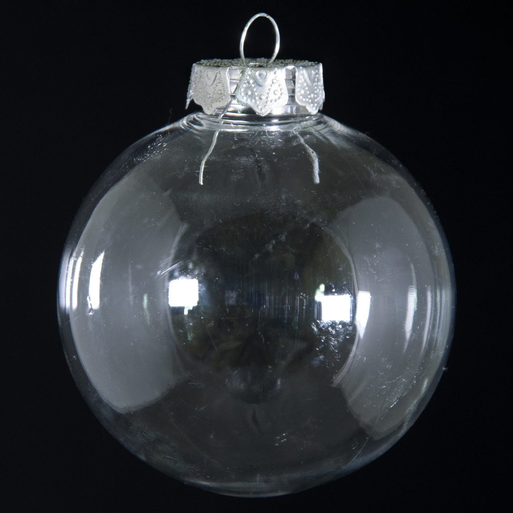 Clear plastic christmas ornament - 80mm Budget Clear Plastic Ornaments Box Of 4