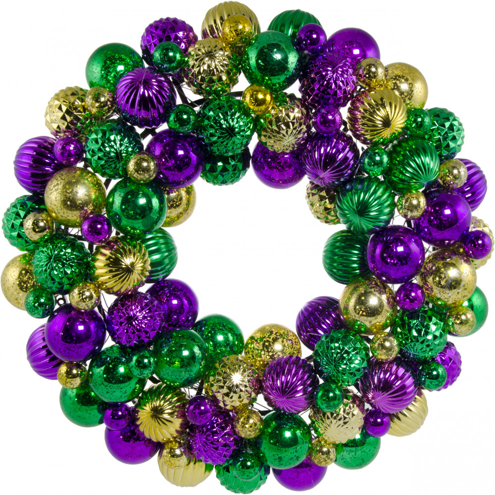 16 mardi gras ball wreath antique purple gold green - Christmas Ball Wreath