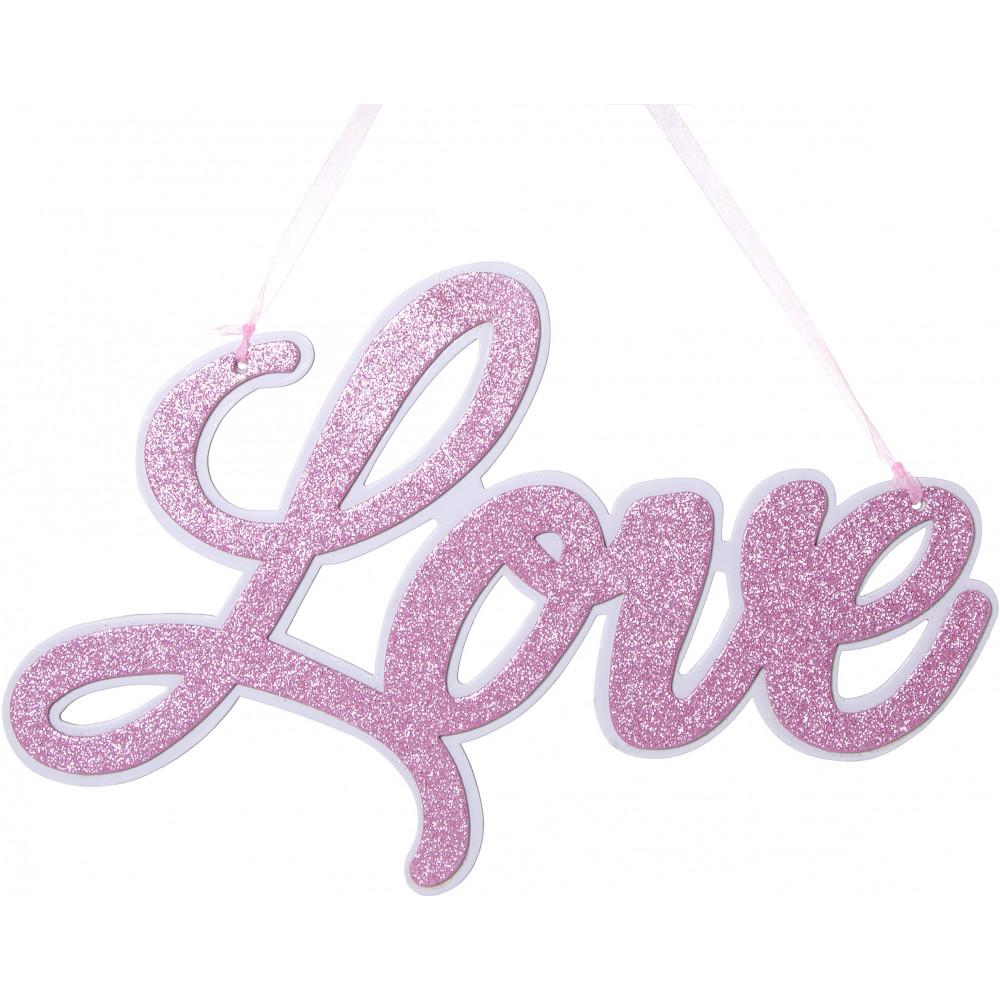 Glittered Love Script Word Sign Pink White
