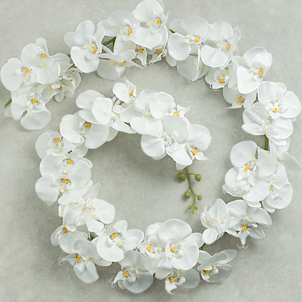 65 White Orchid Garland 29353cm Craftoutlet