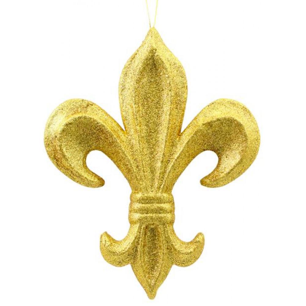 10 Gold Glitter Fleur De Lis Ornament Mz166808 Craftoutlet Com