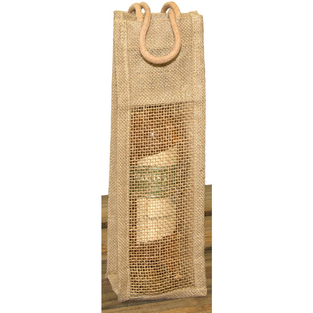 Burlap Wine Bag With Rope Handle Natural